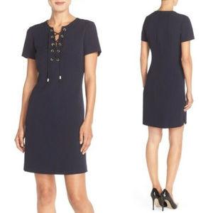 Eliza J Navy Blue Lace UP Grommet dress M 8